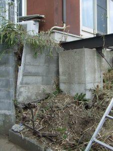 ウッドデッキ基礎:施工前 基礎部分のズレ